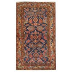 Antique Rug Caucasian Orange Wool Living Room Rugs Handmade Carpet