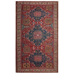 Antique Rug Caucasian Sumakh Kilim Rug, Geometric Flat-Weave Rug 1910's Carpet