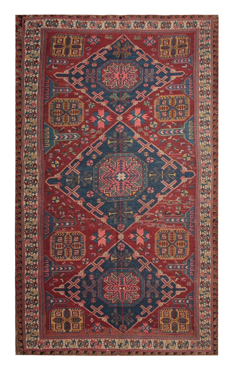 Antique Rug Caucasian Sumakh Kilim Geometric Flat Weave 1910 S Carpet