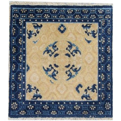 Antique Rug Chinese Rug, Small Handmade Carpet Square Rug, Art Deco Collectible