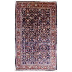 Antique Rug Early 20th Century Classic Carpet Blue and Rust