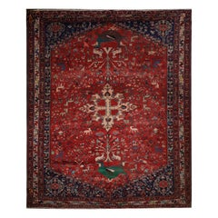 Antique Rug Handmade Carpet, Karabagh Oriental Red Wool Bedroom Rug for Sale