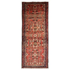 Antique Rug Handmade Carpet, Caucasian Rug Red Oriental Rug Wool Hallway Runner