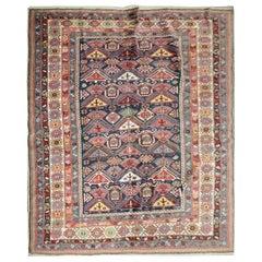 Antique Rug, Handmade Carpet Oriental Caucasian Rug, Living Room Rug for Sale