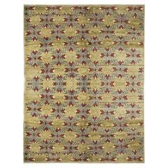 Antique Rug, Handmade Carpet, Turkish Rug Green Wool Oriental Carpet for Sale
