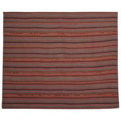 Antique Rug Handwoven Jajim, Flat-Weave Striped Rug