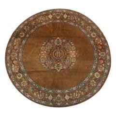 Antique Rug Kashmir Carpet, Handmade Natural Brown Wool Circular Area Rug