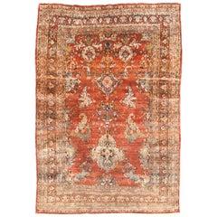 Antique Rug, Perisan Heriz, Silk On Silk,  circa 1880