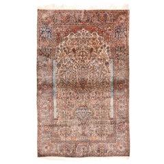 Antique Rug, Persian Mohtasham Kashan, Silk On Silk , circa 1890