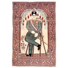 Antique Rug, Persian Mohtasham Kashan, Pictorial, circa 1910