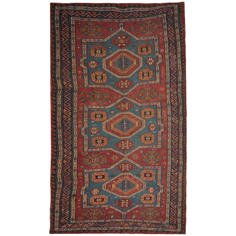 Antique Rug Red Caucasian Sumakh Kilim Geometric Flat Weave 1910 Carpet