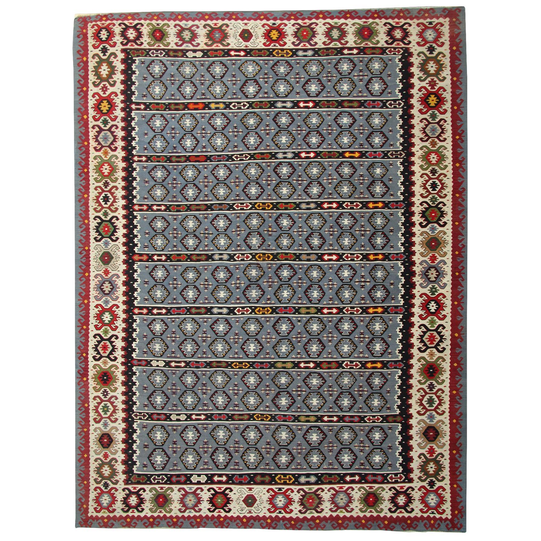 Antique Rug Serbian, Handmade Carpet Vintage Kilim Rug, Geometric Oriental Rug