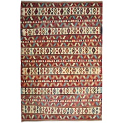 Antique Rug, Vintage Oriental Rug, Striped Kilim Rug Caucasian Handmade Carpet