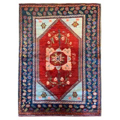 Antique Rugs Armenian Carpet, Handwoven Blue Red Wool Area Rug