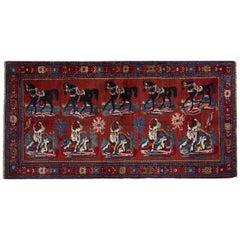 Antique Rugs Caucasian Karabagh, Red Floor Rugs, Animal Design Handmade Carpet