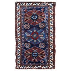 Antique Rugs Caucasian Kazak Rug, Handmade Carpet Blue Oriental Rug