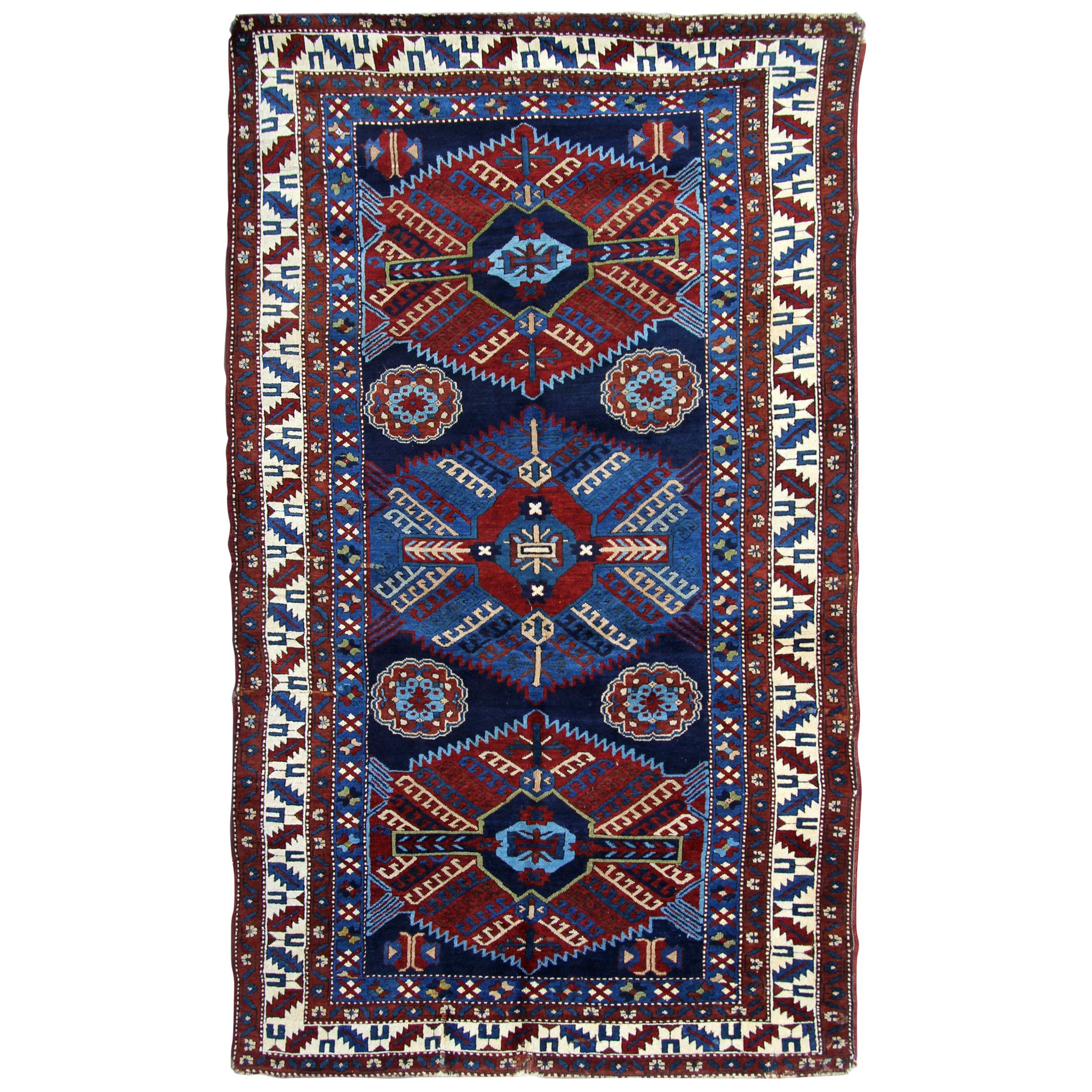 Antique Rugs Caucasian Kazak Rug, Handmade Carpet Blue Oriental Rug for Sale
