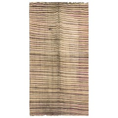 Antique Rugs Caucasian Kilim Area Rug Traditional Striped Flat-Weave