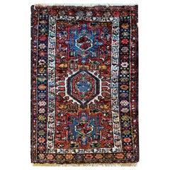 Antique Rugs Caucasian Wool Carpet, Area Rug Oriental Brown Blue