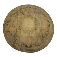 Antique Rugs French Savonnerie Circular Carpet Beige Area Rug