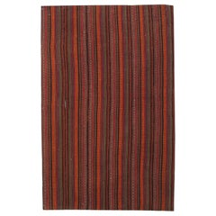 Antique Rugs Handmade Jajim Tapestry Rug Striped Red Carpet Textile