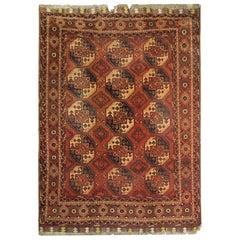 Antique Rugs Handwoven Ersari Turkmen Carpet Brown Wool Area Rug