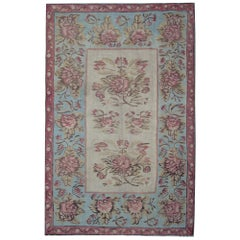 Antique Rugs, Kilim Rugs from Bessarabia, Aubusson Rug, Sky Blue Floor Area Rug