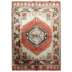 Antique Rugs Milas Area-Turkish Rug, Handmade Carpet Oriental Living Room Rug