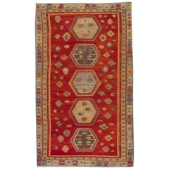 Antique Rugs Oriental Turkish Kilim Rug Red Sarkisla Hand Made Carpet Rugs