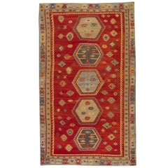 Antique Rugs Oriental Turkish Kilim Rug Red Sarkisla Handmade Carpet Rugs