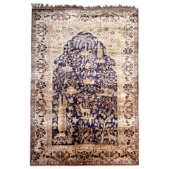 Antique Rugs, Pure Silk Rugs Turkish Rugs Handmade Carpet Oriental Rug for Sale