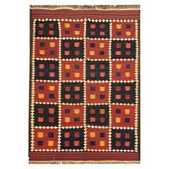 Antique Rugs Red Blue Wool Kilim Area Rug Flat-Woven Tribal Kilim