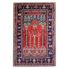 Antique Rugs, Red Handmade Carpet, Caucasian Shirvan Red Oriental Rugs