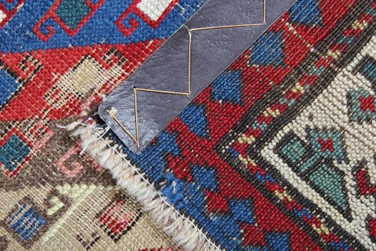 Vegetable Dyed Antique Rugs Runner Caucasian Handmade Carpet Runners, Oriental Rugs For Sale