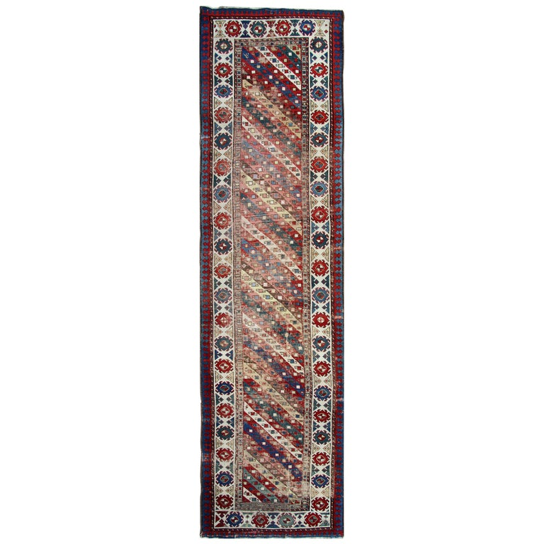 Antique Rugs Runner Caucasian Handmade Carpet Runners, Oriental Rugs For Sale