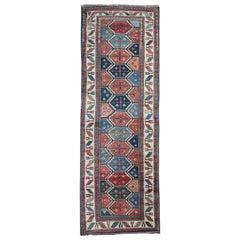 Antique Rugs Runner Handmade Carpet, Caucasian Kurdish Runner