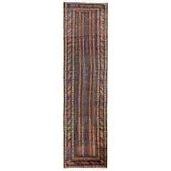Antique Rugs Striped Runner, Handmade Carpet Runners, Oriental Rug for Sale