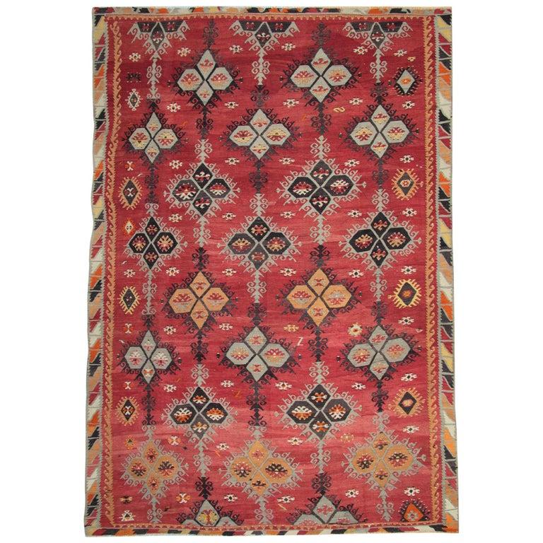 Antique Rugs, Turkish Kilim Rug, Sarkisla Carpet Rug From