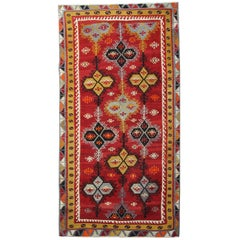 Antique Rugs, Turkish Kilim Rug, Sarkisla Handmade Carpet Oriental Rug for Sale