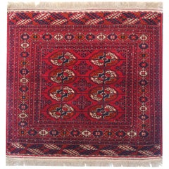 Antique Rugs Turkman Traditional Red Rug, Handmade Wool Area Rug