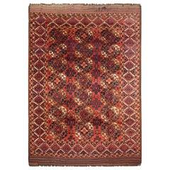 Antique Rugs Turkmen Esari Tribal Rust Wool Carpet Area Rug