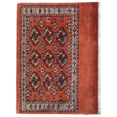 Antique Rugs Turkmen Floor Handmade Carpet Area Red Oriental Rugs