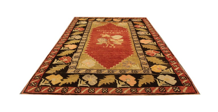 Vegetable Dyed Antique Rugs Yellow Turkish Rug Carpet, Living Room Rug Home Decor from Milas For Sale
