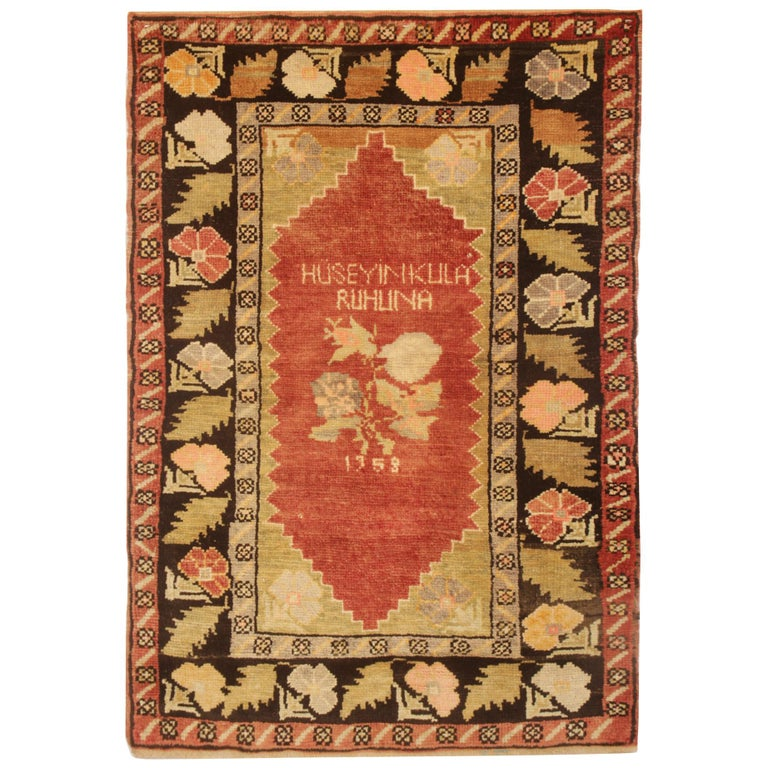 Antique Rugs Yellow Turkish Rug Carpet, Living Room Rug Home Decor from Milas For Sale