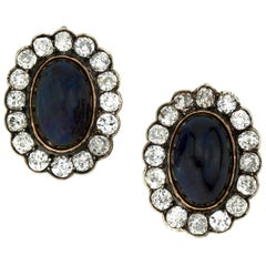 Antique Russian 14 Karat Gold Clip-On Earrings with Cabochon Blue Sapphires