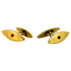Antique Russian 14 Karat Yellow Gold Cufflinks with Rubies