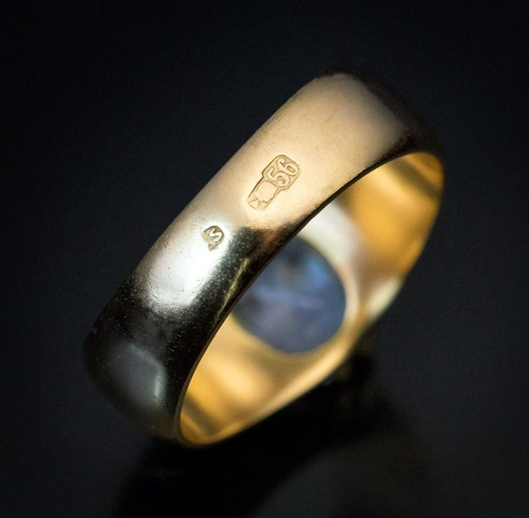 Antique Russian 2.50 Carat Sapphire Gold Unisex Ring For Sale 1