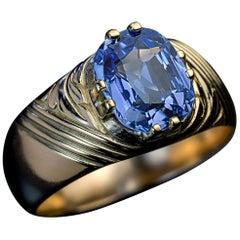 Antique Russian 2.50 Carat Sapphire Gold Unisex Ring