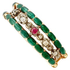 Antique Russian 2.86 Carat Diamond and Synthetic Ruby, Enamel and Gold Brooch