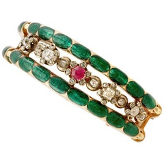 Antique Russian 2.86 Carat Diamond Synthetic Ruby and Enamel and Gold Brooch